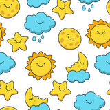 Funny sketching star, sun, cloud, moon. Vector seamless cartoon. Pattern. Day background Royalty Free Stock Images