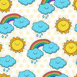 Funny sketching sun, cloud and rainbow. Vector seamless cartoon Royalty Free Stock Photography