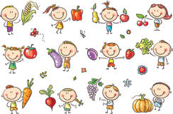 Funny Sketchy Kids with Fruits and Vegetables. Will illustrate healthy eating or vegetarian food or just enter a kids art style design Royalty Free Stock Images