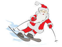 Funny skier Santa Stock Photos