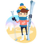 Funny skier standing in front of slopes with his ski and poles w. Vector illustration Funny skier standing in front of slopes with his ski and poles wearing Royalty Free Stock Photos