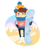 Funny skier standing in front of slopes with his snowboard weari. Vector illustration Funny skier standing in front of slopes with his snowboard wearing knitted Stock Photo