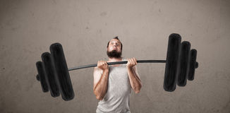 Free Funny Skinny Guy Lifting Weights Stock Image - 47266591