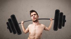 Funny skinny guy lifting weights. Funny skinny guy lifting incredible weights Royalty Free Stock Image