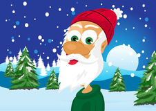 Funny skinny santa claus. Illustration of funny skinny santa claus wearing green sweater and red woolen cap Royalty Free Stock Photography