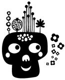 Funny skull with flowers. Royalty Free Stock Photo