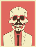 Funny skull hipster character with a mustache and beard. Typographic retro Halloween poster. Vector illustration. Royalty Free Stock Image