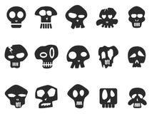Funny skull icons set Stock Image