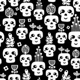 Funny skull seamless pattern with flowers. Royalty Free Stock Images