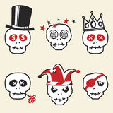Funny Skulls. Various Emotions and Characters Funny Skulls Royalty Free Stock Photos