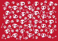 Funny skulls. Pattern made of funny skulls and bones on bright red background. Vector illustration Stock Photos