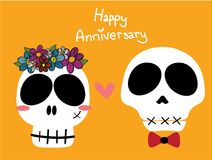 Funny skulls bride and groom or woman with flower crown and man with red bow ribbon on yellow background royalty free illustration