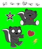 Funny skunk cartoon expressions set Royalty Free Stock Photo