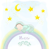 Funny sleeping baby. Royalty Free Stock Photography