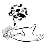 Funny sleeping cat. Series of comic cats. Stock Image