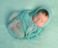 Funny sleeping newborn on blue blanket and in diaper Stock Photography