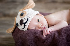 Funny sleepy cute newborn baby Royalty Free Stock Images