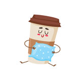 Funny sleepy paper coffee cup character with a pillow Stock Photos