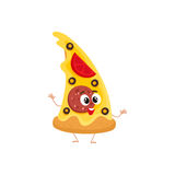 Funny slice of pizza fast food kids menu character Royalty Free Stock Photography