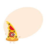 Funny slice of pizza fast food kids menu character Royalty Free Stock Image