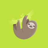 Funny sloth character smiling and hanging on a tree branch Stock Photo