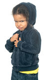 Funny small afroamerican girl wearing a hood. Isolated on white royalty free stock photo