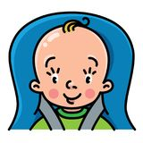 Funny small baby in the car seat Royalty Free Stock Photo