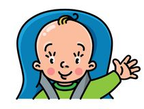 Funny small baby in the car seat Royalty Free Stock Photography