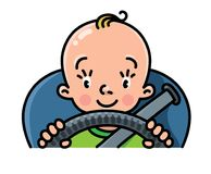 Funny small baby in the car with steering wheel Royalty Free Stock Images