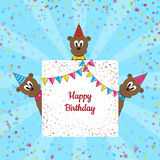 Funny small bears with Birthday banner Stock Photos
