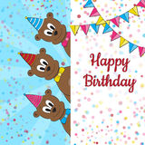 Funny small bears with Birthday banner Stock Image