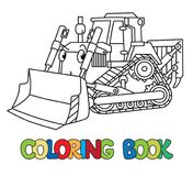 Funny small bulldozer with eyes. Coloring book. Bulldozer coloring book for kids. Small funny vector cute car with eyes and mouth. Children vector illustration Stock Photo