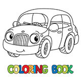 Funny small car with eyes. Coloring book Stock Photos