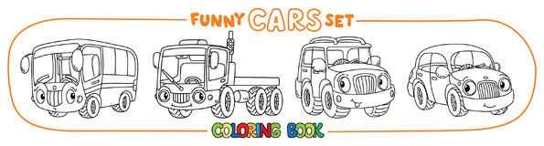 Funny small cars with eyes. Coloring book set. Bus, truck, offroader and car. Small funny vector cute cars with eyes and mouth. Coloring book set for kids Royalty Free Stock Photography