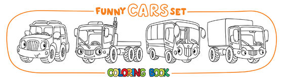 Funny small cars with eyes. Coloring book set. Outroader, truck, bus and lorry. Small funny vector cute cars with eyes and mouth. Coloring book set for kids Stock Image