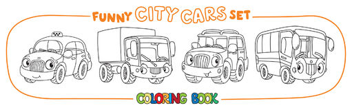 Funny small cars with eyes. Coloring book set. Taxi, lorry offroader and bus. Small funny vector cute city cars with eyes and mouth. Coloring book set for kids Royalty Free Stock Photos
