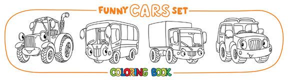 Funny small cars with eyes. Coloring book set. Tractor, bus, lorry and suv. Small funny vector cute cars with eyes and mouth. Coloring book set for kids Royalty Free Stock Images