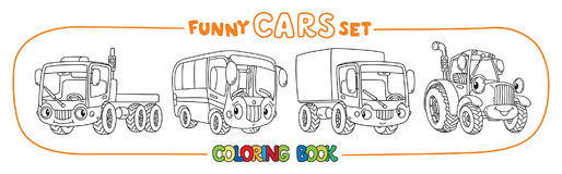 Funny small cars with eyes. Coloring book set. Truck, lorry bus and tractor. Small funny vector cute cars with eyes and mouth. Coloring book set for kids Stock Photos