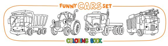 Funny small cars with eyes. Coloring book set. Truck, lorry, fire engine and tractor. Small funny vector cute cars with eyes and mouth. Coloring book set for Stock Image