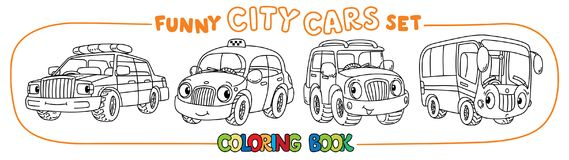 Funny small city cars with eyes. Coloring book set. Bus, police car, taxi and offroader. Small funny vector cute cars with eyes and mouth. Coloring book set for Royalty Free Stock Photo