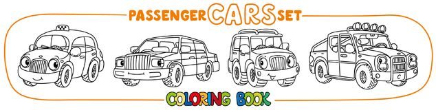 Funny small city cars with eyes. Coloring book set. Pickup truck , hatchback, retro taxi car and offroader. Small funny vector cute passenger cars with eyes and Royalty Free Stock Photo