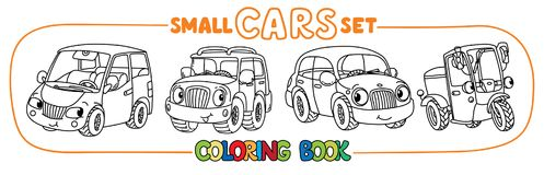 Funny small city cars with eyes. Coloring book set. Scooter, passenger car, retro taxi car and offroader. Small funny vector cute passenger cars set with eyes Royalty Free Stock Image