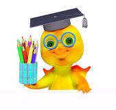 Funny small dragon character graduation cap diploma and pencils. Isolated 3d rendering Stock Photography