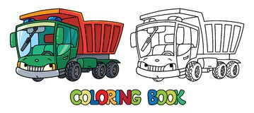 Funny small dump truck with eyes. Coloring book Stock Images