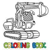 Funny small excavator with eyes. Coloring book royalty free illustration