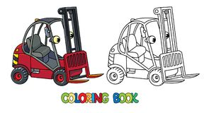 Funny small forklift truck or loader car with eyes. Forklift truck or loader car. Small funny vector cute vehicle with eyes. Children vector illustration royalty free illustration