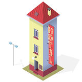 Funny small hotel. Tall comical hostel. Isometric hostel building. Motel. Funny small hotel. Tall and slim hostel. Isometric hotel building with red roof. Funny vector illustration