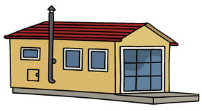 Funny small house. Hand drawing of a funny yellow small house Royalty Free Stock Photo