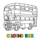 Funny small London bus with eyes. Coloring book. London double-decker bus coloring book for kids. Small funny vector cute car or vehicle with eyes and mouth royalty free illustration
