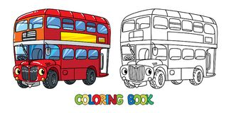 Funny small London bus with eyes. Coloring book. London double-decker bus coloring book for kids. Small funny vector cute car or vehicle with eyes and mouth stock illustration